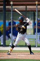 Pittsburgh Pirates center fielder Angel Basabe (87) at bat during a Florida Instructional League game against the Toronto Blue Jays on September 20, 2018 at the Englebert Complex in Dunedin, Florida.  (Mike Janes/Four Seam Images)