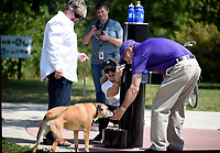 NWA Democrat-Gazette/DAVID GOTTSCHALK City of Fayetteville Mayor Lioneld Jordan (from right) and Amy Wilson, director of public affairs with the Beaver Water District, kneel down Monday, September 9, 2019 to offer Clarabelle some water during a walk with her owner Julie Schultz following a ceremony celebrating the installation of a hydration station in Sweetbriar Park in Fayetteville. Beaver Water District partnered with the city of Fayetteville to make the new hydration station in the park that is located near a newly completed section of the Niokaska Creek Trail.