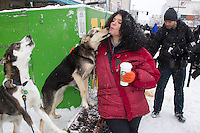 Saturday, March 3, 2012  Silvia Furtwangler gets a kiss from one of her dogs on Fourth (4th) Avenue at the Ceremonial Start of Iditarod 2012 in Anchorage, Alaska.