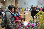 A visitor buys a fritillary at an RHS Secret Garden Sunday.