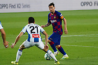 8th July 2020; Camp Nou, Barcelona, Catalonia, Spain; La Liga Football, Barcelona versus Espanyol; Leo Messi takes on the challenge from Marc Roca of Espanyol