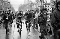on their way to the start: Rinaldo Nocentini (ITA/Ag2r-LaMondiale) and a fellow rider/countryman<br /> <br /> 2014 Milano - San Remo