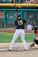 Joe Hudson (19) of the Salt Lake Bees bats against the Nashville Sounds at Smith's Ballpark on July 27, 2018 in Salt Lake City, Utah. The Bees defeated the Sounds 8-6. (Stephen Smith/Four Seam Images)
