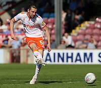 Blackpool's Antony Evans fires a shot toward goal<br /> <br /> Photographer David Shipman/CameraSport<br /> <br /> The EFL Sky Bet League One - Scunthorpe United v Blackpool - Friday 19th April 2019 - Glanford Park - Scunthorpe<br /> <br /> World Copyright © 2019 CameraSport. All rights reserved. 43 Linden Ave. Countesthorpe. Leicester. England. LE8 5PG - Tel: +44 (0) 116 277 4147 - admin@camerasport.com - www.camerasport.com