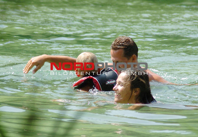 Former Formula One driver Michael Schumacher enjoys holiday vacation with his wife and child at popular National Park &laquo;The Krka River Falls&raquo;, near city Sibenik, Adriatic coast, Croatia. August 24, 2007. Photo by 24sata/Stringer. (OUT OF CROATIA) <br /> <br /> <br /> Foto: &copy; nph ( nordphoto )