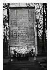 Quote from Joseph Stalin espousing in German the noble purpose of the Red Army in the patriotic war, on a monument at the Soviet War Memorial at Treptower Park in East Berlin, 18 November 1989. Photograph copyright Graham Harrison.