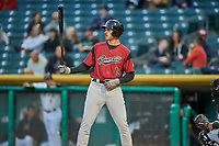 Chris Shaw (15) of the Sacramento River Cats bats against the Salt Lake Bees at Smith's Ballpark on April 19, 2018 in Salt Lake City, Utah. Salt Lake defeated Sacramento 10-7. (Stephen Smith/Four Seam Images)