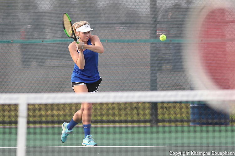 Boswell plays Chisholm Trail in high school tennis on Tuesday, September 12, 2017. (photo by Khampha Bouaphanh)
