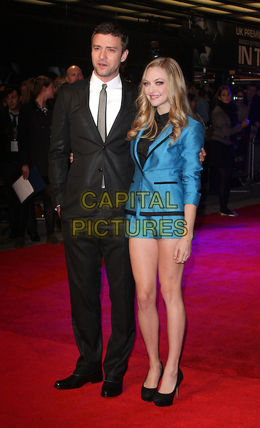 Justin Timberlake & Amanda Seyfried (wearing H&M).'In Time' UK premiere  at the Curzon, Mayfair, London, England..31st October 2011.full length blue blazer shorts black trim Sergio Rossi heels shoes suit white shirt grey gray tie.CAP/ROS.©Steve Ross/Capital Pictures.