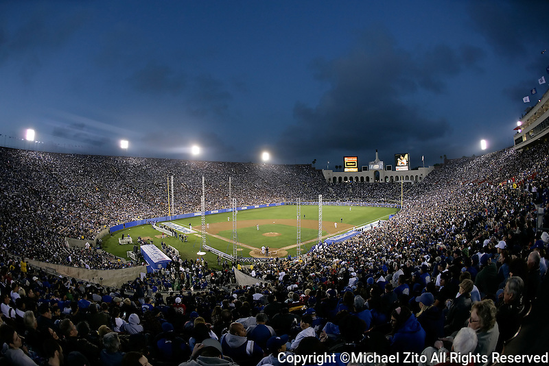 March 29, 2008 Los Angeles, CA : The Los Angeles Dodgers celebrate 50 years in Los Angeles by hosting the Boston Red Sox at the Los Angeles Memorial Coliseum in front of the largest crowd ever to attend a baseball game, 115,300. The Red Sox defeated the Dodgers 7-4