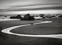 Harris Beach State Park, Oregon: Harris Creek winds through the beach  at sunset