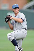 Starting pitcher Zach Jemiola (27) of the Asheville Tourists warms up before a game against the Greenville Drive on Sunday, July 20, 2014, at Fluor Field at the West End in Greenville, South Carolina. Asheville won game two of a doubleheader, 3-2. (Tom Priddy/Four Seam Images)