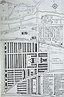 Utopia:  Plan of Saltaire (in German).  Mill (in light grey) opened in 1853. Population 4500. From Unwin Papers.