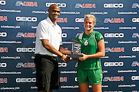 8 November 2015:  Marshall Midfielder/Forward Kelly Culicerto (6) is presented an award after the match as the University of North Texas Mean Green defeated the Marshall University Thundering Herd, 1-0, in the Conference USA championship game at University Park Stadium in Miami, Florida.