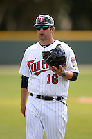 Minnesota Twins manager Doug Mientkiewicz (16) during a minor league spring training game against the Baltimore Orioles on March 20, 2014 at the Buck O'Neil Complex in Sarasota, Florida.  (Mike Janes/Four Seam Images)