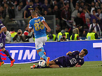 during the the Italian Cup final soccer match between Napoli and  Fiorentina at the Olympic stadium in Rome May 3, 2014