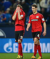 FUSSBALL   1. BUNDESLIGA   SAISON 2012/2013    29. SPIELTAG FC Schalke 04 - Bayer 04 Leverkusen                        13.04.2013 Stefan Kiessling (li) und Philipp Wollscheid (re, beide Bayer 04 Leverkusen) sind nach dem Abpfiff enttaeuscht