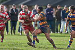 Stephen Wolfgram fends off Nicholas Denz. Counties Manukau Premier Club Rugby game between Patumahoe & Karaka played at Patumahoe on Saturday June 13th 2009. Patumahoe lead 8 - 0 at halftime and went on to win 20 - 0.