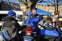 Luke Charteris of Bath Rugby signs autographs for supporters prior to the match. European Rugby Challenge Cup match, between Bath Rugby and Pau (Section Paloise) on January 21, 2017 at the Recreation Ground in Bath, England. Photo by: Patrick Khachfe / Onside Images