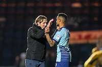 Wycombe Wanderers Manager Gareth Ainsworth with winning goalscorer Paris Cowan-Hall of Wycombe Wanderers during the Sky Bet League 2 match between Wycombe Wanderers and Newport County at Adams Park, High Wycombe, England on 2 January 2017. Photo by Andy Rowland.