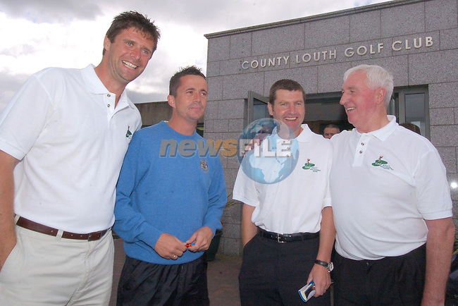 Ex Irish International Soccer Stars Nill Quinn (L) Gary Kelly (2L) Denis Irwin (2R) and Mick Byrne at the start of the Gary Kelly Cancer Support Centre Golf Classic in Co Louth Golf Club..Photo Fran Caffrey Newsfile.ie..This Picture has been sent to you by Newsfile Ltd..The Studio,.Millmount Abbey,.Drogheda,.Co. Meath,.Ireland..Tel: +353(0)41-9871240.Fax: +353(0)41-9871260.ISDN: +353(0)41-9871010.www.newsfile.ie..general email: pictures@newsfile.ie
