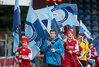 Wycombe flag bearers during the Sky Bet League 2 match between Wycombe Wanderers and Bristol Rovers at Adams Park, High Wycombe, England on 27 February 2016. Photo by Andy Rowland.