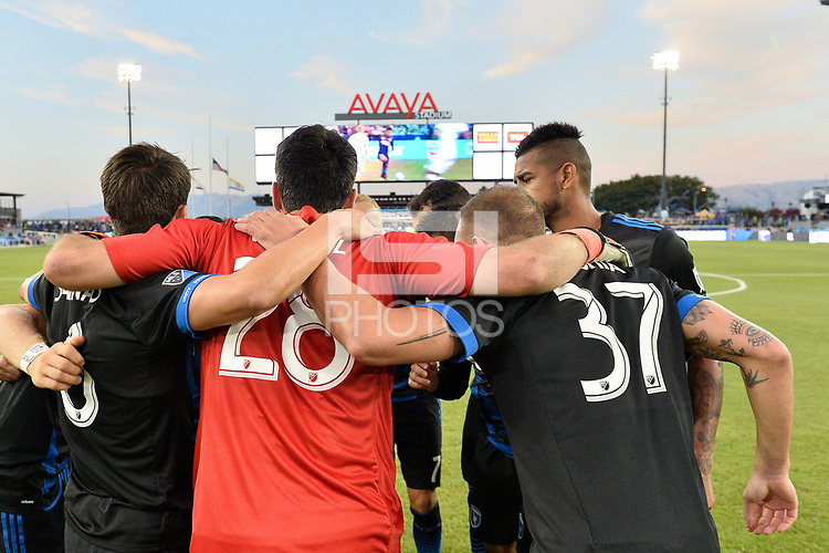 San Jose, CA - Wednesday August 29, 2018: San Jose Earthquakes huddle during a Major League Soccer (MLS) match between the San Jose Earthquakes and FC Dallas at Avaya Stadium.