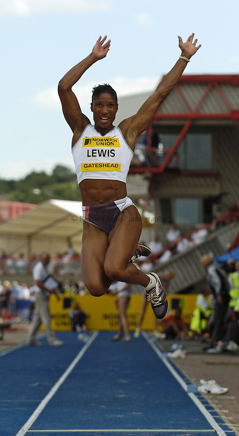 Photo. Jed Wee..Norwich Union British Grand Prix, 27/06/2004..Britain's Denise Lewis.