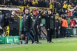 05.02.2019, Signal Iduna Park, Dortmund, GER, DFB-Pokal, Achtelfinale, Borussia Dortmund vs Werder Bremen<br /> <br /> DFB REGULATIONS PROHIBIT ANY USE OF PHOTOGRAPHS AS IMAGE SEQUENCES AND/OR QUASI-VIDEO.<br /> <br /> im Bild / picture shows<br /> Frank Baumann (Geschäftsführer Fußball Werder Bremen), Florian Kohfeldt (Trainer SV Werder Bremen) verärgert / emotional in Coachingzone / an Seitenlinie nach 3:2 Führung für Dortmund bei Robert Schröder (4. Offizieller Schiedsrichter / 4th referee),  <br /> <br /> Foto © nordphoto / Ewert