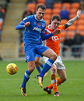 Blackpool's Callum Cooke vies for possession with Portsmouth's Kal Naismith<br /> <br /> Photographer Alex Dodd/CameraSport<br /> <br /> The EFL Sky Bet League One - Blackpool v Portsmouth - Saturday 11th November 2017 - Bloomfield Road - Blackpool<br /> <br /> World Copyright &copy; 2017 CameraSport. All rights reserved. 43 Linden Ave. Countesthorpe. Leicester. England. LE8 5PG - Tel: +44 (0) 116 277 4147 - admin@camerasport.com - www.camerasport.com