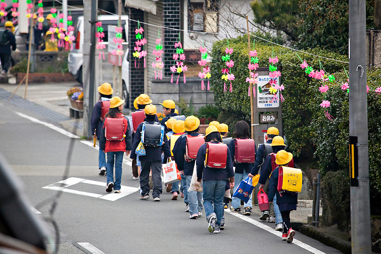 Children walking to school in Takeda Japan