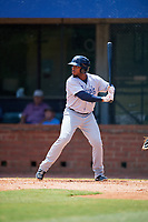 Pensacola Blue Wahoos left fielder Leon Landry (6) at bat during a game against the Mobile BayBears on April 26, 2017 at Hank Aaron Stadium in Mobile, Alabama.  Pensacola defeated Mobile 5-3.  (Mike Janes/Four Seam Images)