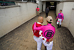 LOUISVILLE, KY - MAY 04: Mike Smith and John Velasquez walk back to the tunnel after participating in the Survivor's Parade on Kentucky Oaks Day at Churchill Downs on May 4, 2018 in Louisville, Kentucky. (Photo by Scott Serio/Eclipse Sportswire/Getty Images)