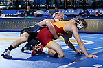 BROOKINGS, SD - NOVEMBER 4:  Alex Kocer from South Dakota State controls Blayne Briceno from Iowa State in their 149 pound match Friday evening at Frost Arena in Brookings. (Photo by Dave Eggen/Inertia)