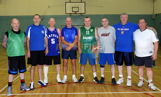 Veterans at the charity basketball match(from left) Niall Reynolds, Ray Donagh, John Donnelly, Paddy Fanning, Niall Rice, John Smith, Ken Sulivan and Dave Flood.