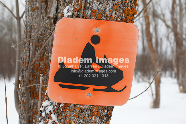 A snowmobile sign nailed to a tree in Northern Minnesota, USA.