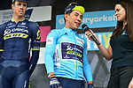Race leader Caleb Ewan (AUS) Orica-Scott wears the blue jersey at sign on before the start of Stage 3 of the Tour de Yorkshire 2017 running 194.5km from Bradford/Fox Valley to Sheffield, England. 30th April 2017. <br /> Picture: ASO/P.Ballet | Cyclefile<br /> <br /> <br /> All photos usage must carry mandatory copyright credit (&copy; Cyclefile | ASO/P.Ballet)