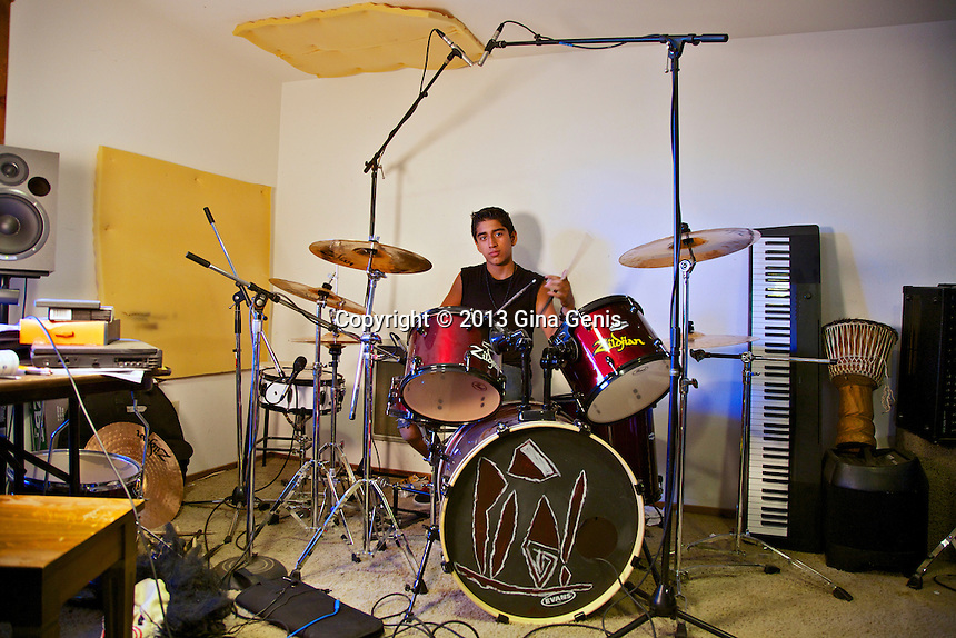 Izaiah Carman at his drums