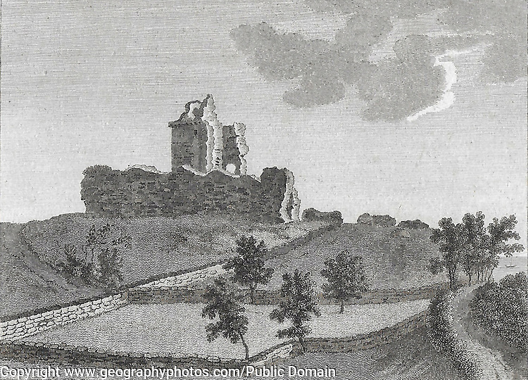 Engraving of Scottish landscapes and buildings from late eighteenth century, Red Castle, Scotland, UK , drawn by S Hooper