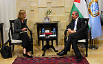 Palestinian Prime Minister Mohammad Ishtayeh meets with representative of Norway to Palestine Hilda Haraldstad, at his headquarter in the West Bank city of Ramallah, April 23, 2019. Photo by Prime Minister Office