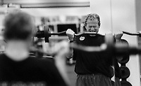 18 Feb 2000, Charleston, South Carolina, USA --- Republican presidential candidate George W Bush works out in a gym during the 2000 campaign --- Image by © Brooks Kraft/Corbis