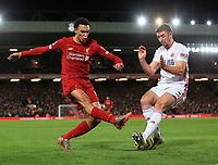 2nd January 2020; Anfield, Liverpool, Merseyside, England; English Premier League Football, Liverpool versus Sheffield United; Enda Stevens of Sheffield United blocks a shot from Trent Alexander-Arnold of Liverpool - Strictly Editorial Use Only. No use with unauthorized audio, video, data, fixture lists, club/league logos or 'live' services. Online in-match use limited to 120 images, no video emulation. No use in betting, games or single club/league/player publications
