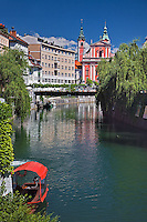 Ljubljanica River and Franciscan Church, Ljubljana; Slovenia
