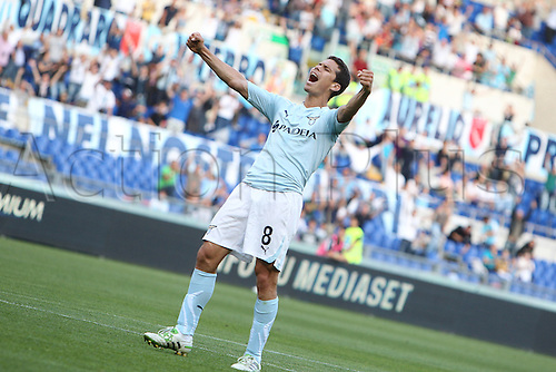 14.05.2011 Seria A Tim - stadio olimpico in Rome, Italy - Lazio versus Genoa 4-2.  Hernanes of Lazio celebrates as he scores.