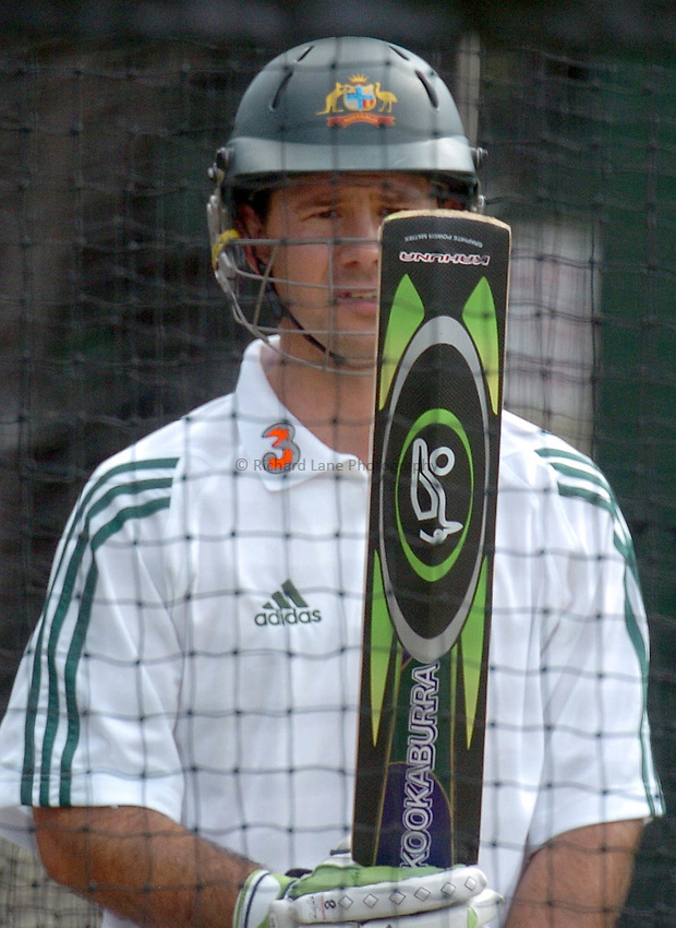 Photo: Steve Holland..Test Match Series. Australia v ICC World XI. 13/10/2005. AustralianTraining session..Captain Ricky Ponting