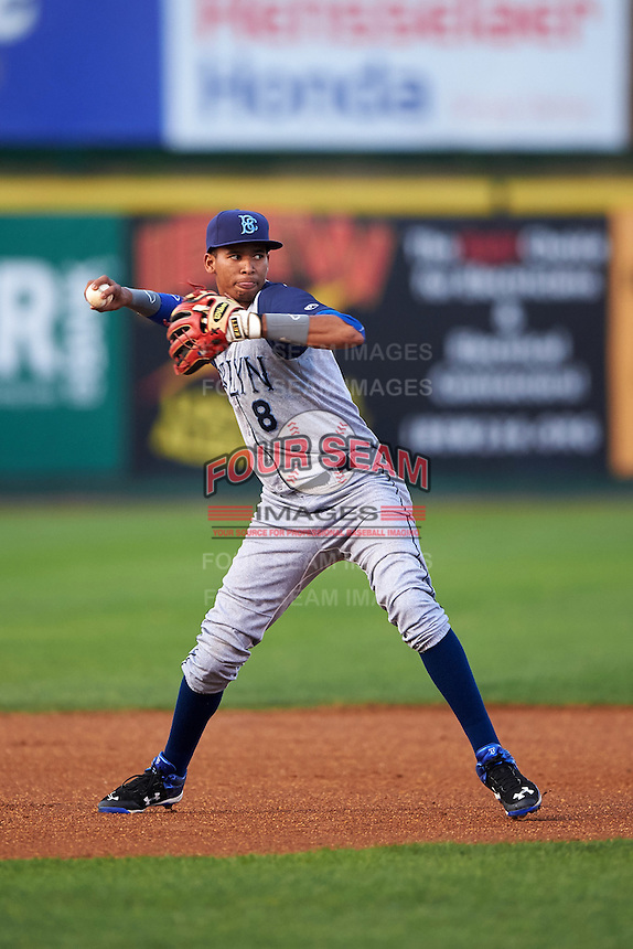 Brooklyn Cyclones shortstop Alfredo Reyes (8) throws to first during a game against the Tri-City ValleyCats on September 1, 2015 at Joseph L. Bruno Stadium in Troy, New York.  Tri-City defeated Brooklyn 5-4.  (Mike Janes/Four Seam Images)