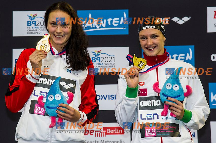NIELSEN Mie Oe. DEN Gold Medal (L)<br /> HOSSZU Katinka HUN  Gold Medal<br /> 100m Backstroke Women Final<br /> 32nd LEN European Championships <br /> Berlin, Germany 2014  Aug.13 th - Aug. 24 th<br /> Day09 - Aug. 21<br /> Photo G. Scala/Deepbluemedia/Inside