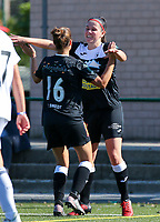 20190921 – LEUVEN, BELGIUM : E. Aalst's Evy de Smedt (16) is pictured celebrating her goal with Annelies van Loock during a women soccer game between  Oud Heverlee Leuven Ladies B and Eendracht Aalst Ladies on the fourth matchday of the Belgian Division 1 season 2019-2020, the Belgian women's football  national division 1, Saturday 21th September 2019 at the Bruinveld Youth Complex, Domeinstraat in Leuven , Belgium. PHOTO SPORTPIX.BE | SEVIL OKTEM