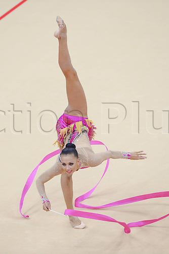 10.08.2012. London, England. Daria Dmitrieva RUS Ribbon Rythmic Gymnastcis 2012 London Olympic Games.