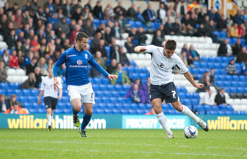 Leicester City's Ben Marshall shoots pst Birmingham City's Keith Fahey and scores his sides equalising goal to make the score 1-1..Football - npower Football League Championship - Birmingham City v Leicester City - Saturday 20th October 2012 - St Andrews - Birmingham..